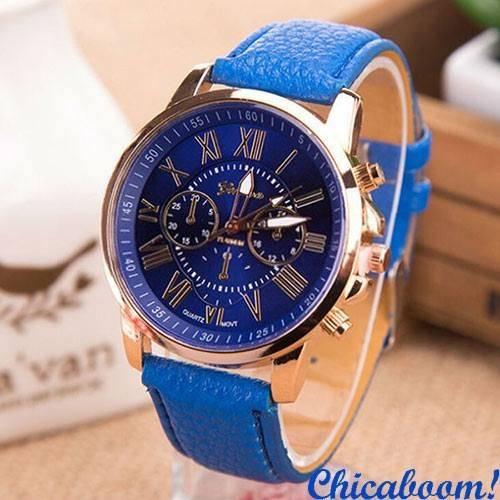 Часы Geneva с синим ремешком (римские цифры)