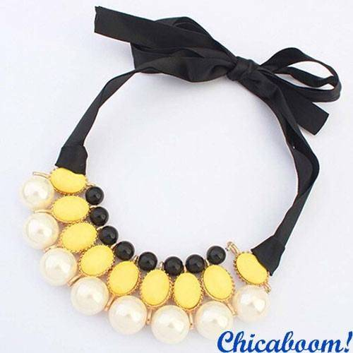 Ожерелье Молочный жемчуг (жёлтый цвет)