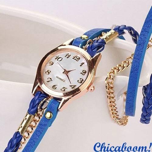 Часы с длинным ремешком синего цвета (золотистая цепь)