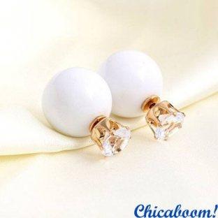Серьги в стиле Dior белого цвета (корона)