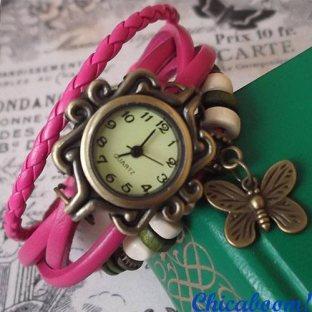 Винтажные часы-браслет с малиновым ремешком (бабочка)