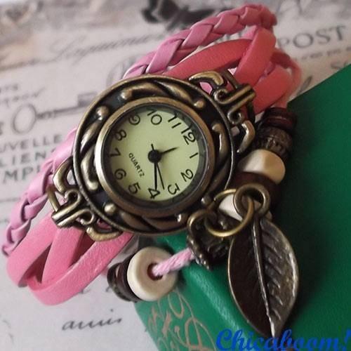 Винтажные часы-браслет с розовым ремешком (листочек)