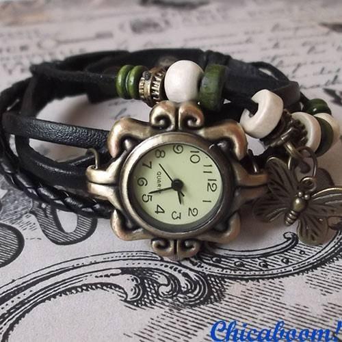 Винтажные часы-браслет с чёрным ремешком (бабочка)