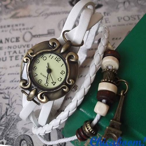 Винтажные часы-браслет с белым ремешком (эйфелева башня)