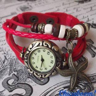 Винтажные часы-браслет с красным ремешком (звезда)