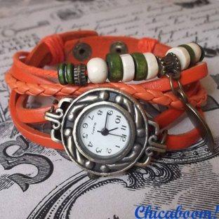 Винтажные часы-браслет с оранжевым ремешком (листочек)