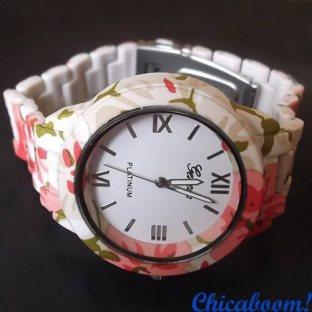 Часы Geneva с цветочным принтом №1
