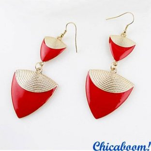 Серьги Треугольники (красные)