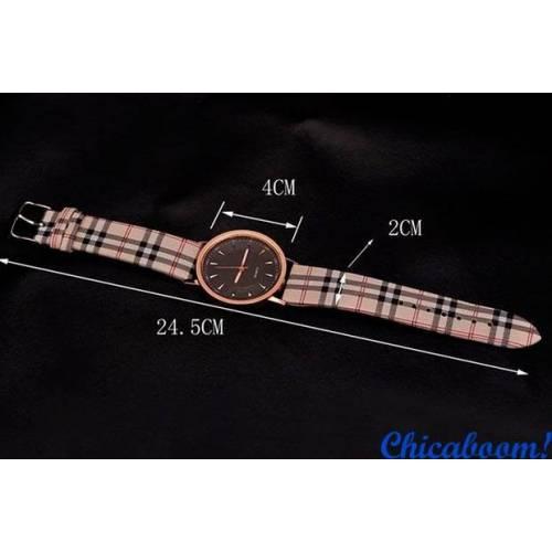 Часы Caesar с клетчатым ремешком (чёрный циферблат)