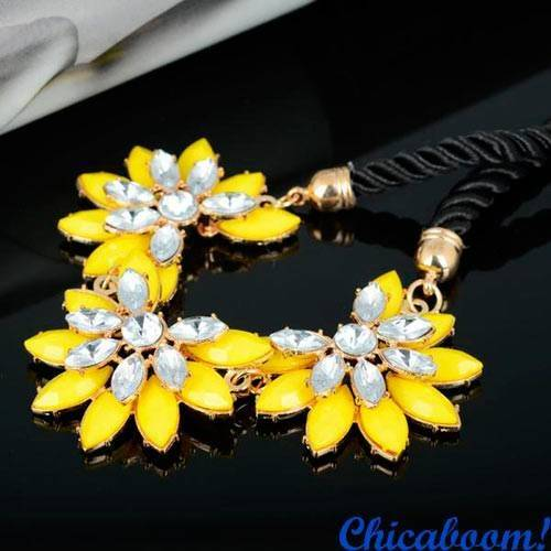 Ожерелье Кристальный цветок (жёлтый)