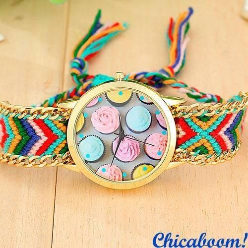 Часы Geneva с тканевым ремешком (пирожные) №9