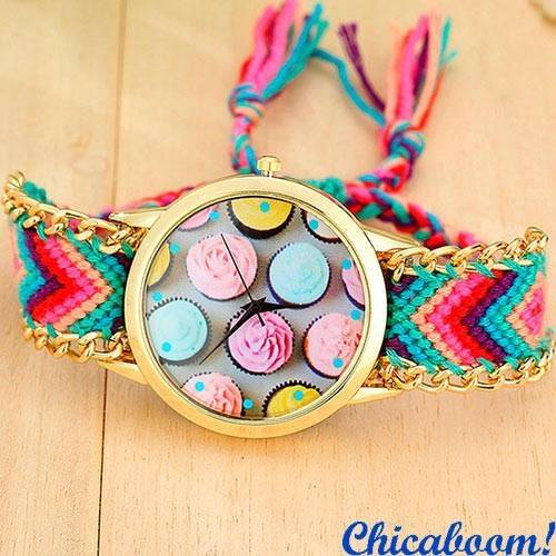 Часы Geneva с тканевым ремешком (пирожные) №1