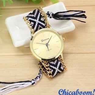 Часы Geneva с тканевым ремешком №10