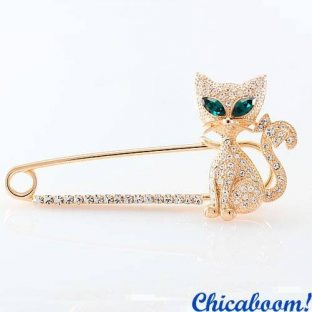 Брошь Кошка золотого цвета