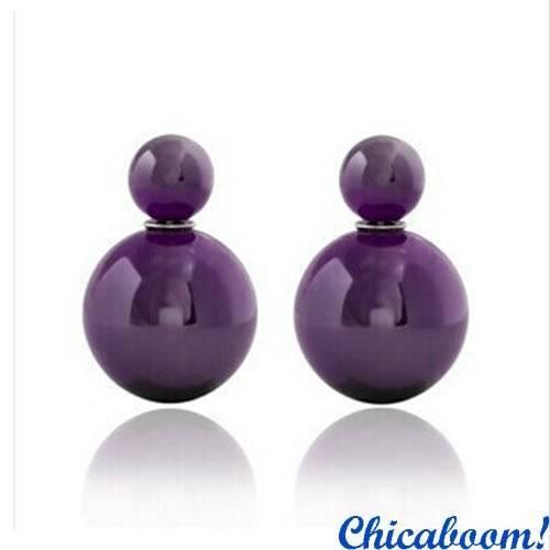 Серьги пусеты в стиле Диор фиолетового цвета
