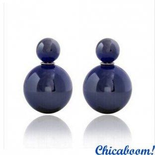Серьги пусеты в стиле Диор синего цвета