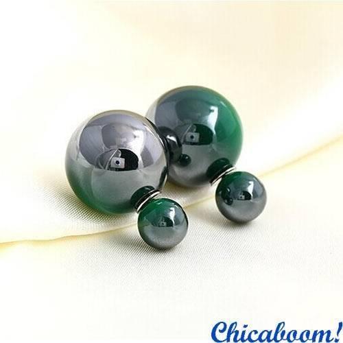 Серьги пусеты в стиле Диор зелёного цвета