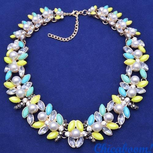 Ожерелье Вечность (жёлто-голубой цвет)