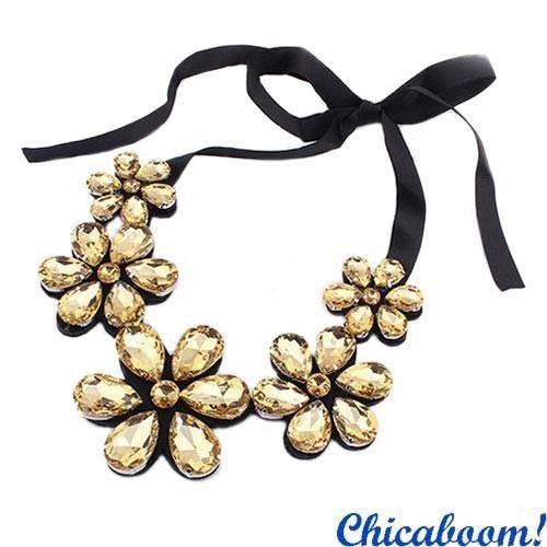 Ожерелье Ледяные цветы (цвета шампань)