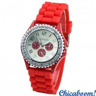Часы Geneva с силиконовым ремешком красного цвета и стразами