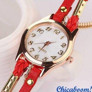 Часы с длинным ремешком кораллового цвета (золотистая цепь)