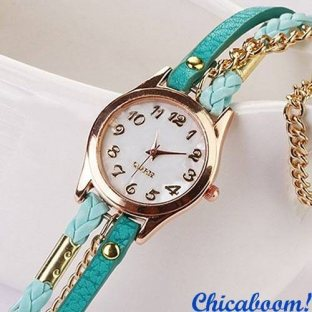 Часы с длинным ремешком бирюзового цвета (золотистая цепь)