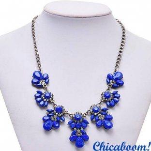 Ожерелье Цветочный кристалл синего цвета