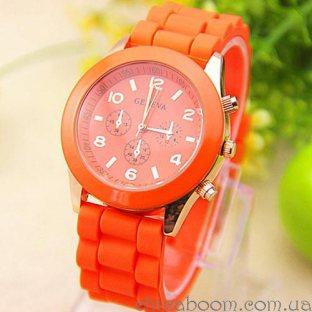 Часы Geneva с силиконовым ремешком оранжевого цвета