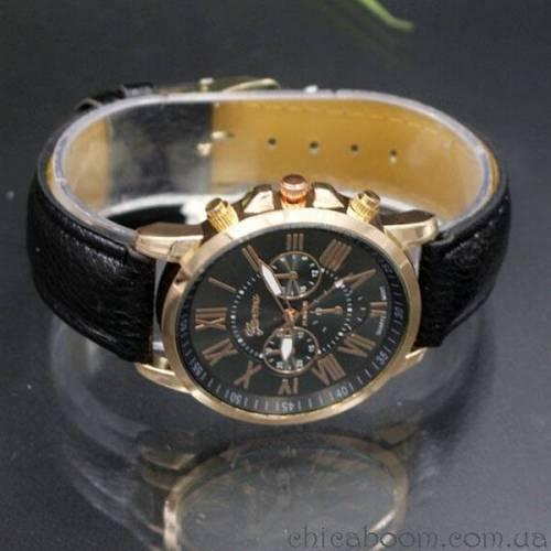 Часы Geneva с чёрным ремешком (римские цифры)