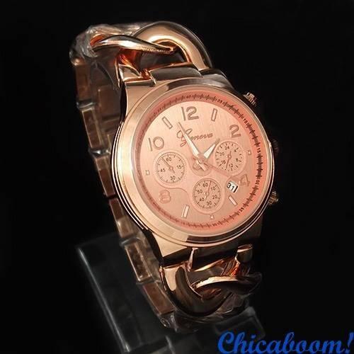 Часы Geneva с плетёным браслетом цвета розового золота