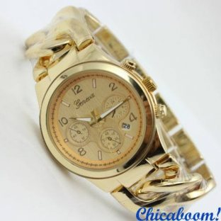 Часы Geneva с плетёным браслетом золотого цвета