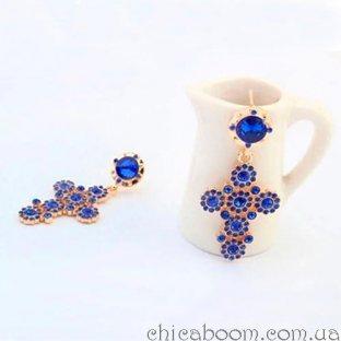 Серьги Крестики синего цвета