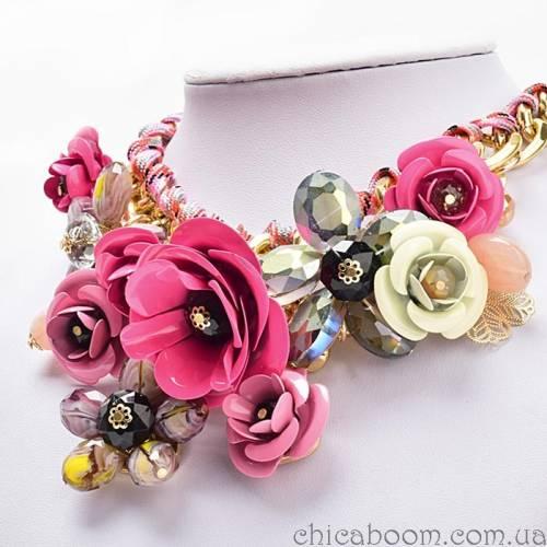 Ожерелье Весенние цветы (розовый цвет)