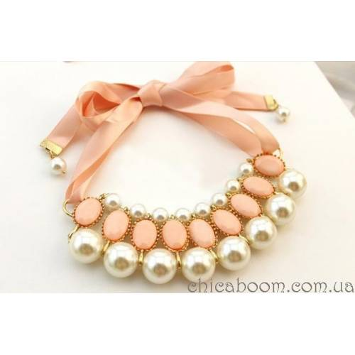 Ожерелье Молочный жемчуг (розовый цвет)