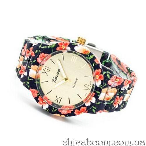 Часы Geneva с цветочным принтом в чёрных тонах (пластик)