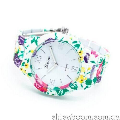 Часы Geneva с цветочным принтом в зелёных тонах (пластик)