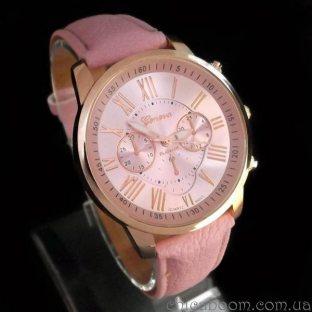 Часы Geneva с розовым ремешком (римские цифры)