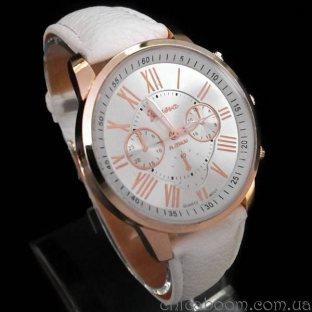 Часы Geneva с белым ремешком (римские цифры)