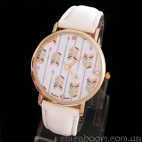 Часы с белым ремешком (стрелы)