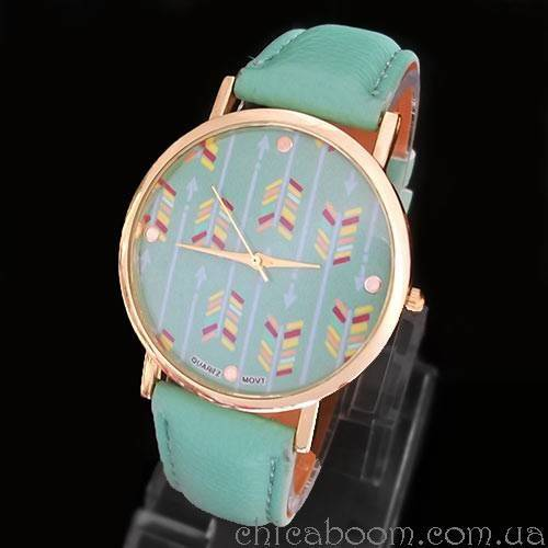 Часы с зелёным ремешком (стрелы)