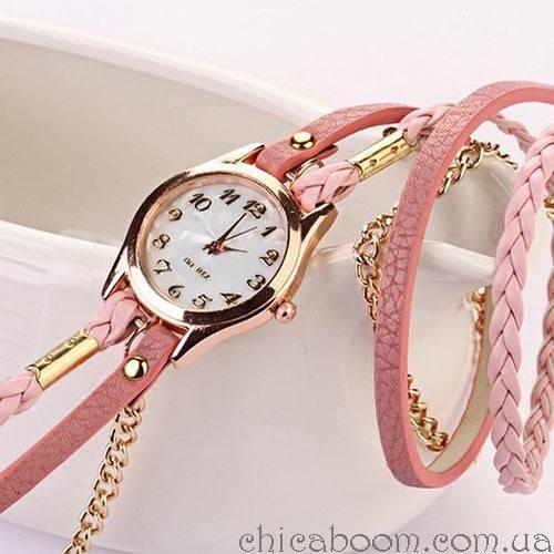 Часы с длинным ремешком розового цвета (золотистая цепь)