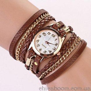 Часы с длинным ремешком коричневого цвета (золотистая цепь)