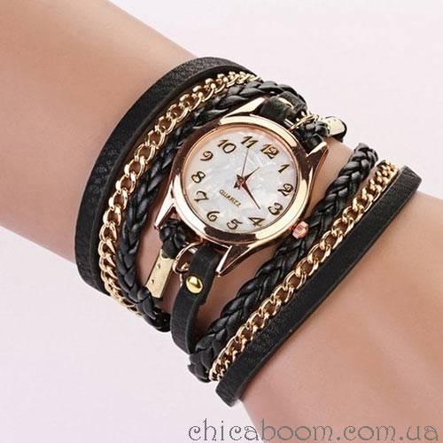 Часы с длинным ремешком чёрного цвета (золотистая цепь)