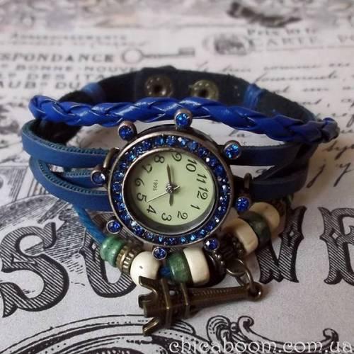 356bfd552da4 Часы-браслет с синим ремешком со стразами - Интернет магазин Чикабум