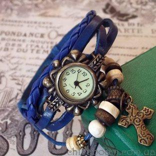 Часы-браслет с синим ремешком (крестик)