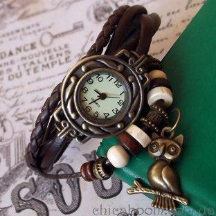 Часы-браслет с коричневым ремешком (сова)