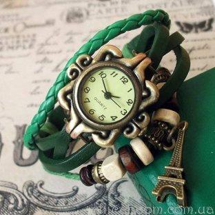 Часы-браслет с зелёным ремешком (эйфелева башня)
