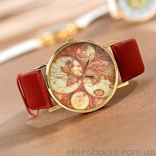 Часы Континенты (красный ремешок)
