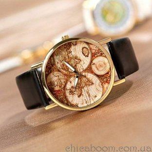 Часы Континенты (чёрный ремешок)