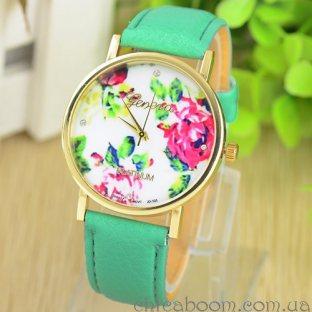 Часы Geneva с кожаным ремешком зелёного цвета (цветочный принт)